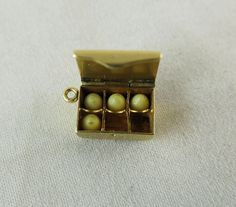 Vintage 14K Gold Egg Crate Mechanical Charm With Glass Eggs - Strictly Fresh