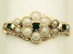 A fine and impressive antique Victorian 0.04 carat natural emerald and seed pearl, 18 carat yellow gold dress ring; part of our antique jewellery/estate jewelry collections. SKU: W8709 Price: GBP £695.00 http://www.acsilver.co.uk/shop/pc/0-04-ct-Emerald-and-Seed-Pearl-18-ct-Yellow-Gold-Dress-Ring-Antique-Victorian-35p6406.htm#.U_SSTM90zcs