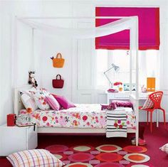 KS- BLANKET:  find blanket you like, add pom-pons and an appliqué to go with room theme.  40-Ideas-for-Colorful-Bedroom-Designs-With-Study-Table-Complete-Light-Using-Chair-That-Have-Red-Carpet-Floor-Also-Window-of-Curtain-Design