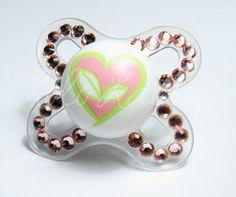 Baby Bling Light Rose Swarovski Crystal Mam Pacifier / Binky. $16.00, via Etsy.