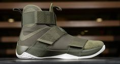 Nike Upgrades the Zoom LeBron Soldier 10 in Lux Olive Green: A premium look for LeBron's signature shoe. Men's Shoes, Nike Shoes, Shoe Boots, Adidas Sneakers, Nike Lebron, Reebok, Olive Green Shoes, Nba, Soldier 10