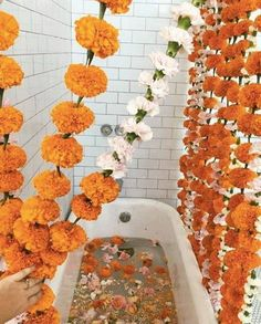 fall flower arrangements orange and white pom pom flowers Fleur Orange, Fall Flower Arrangements, Dream Bath, Relaxing Bath, Fall Flowers, Orange Flowers, Wedding Flowers, Mellow Yellow, My New Room