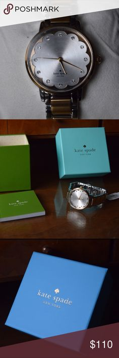 Kate Spade Two Tone Gramercy Watch - NEW Two toned stainless steal hardware (Silver and Gold). Silver dial. Quartz movement. Water resistant (30 meters). Blooming Watch face detail. White marks on Watch face is the original plastic. Includes booklet and box. Brand New With Tags. kate spade Accessories Watches