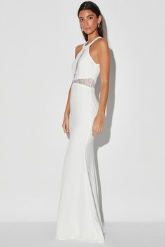 Be ready for a night of romance in the Lulus Infinite Love White Lace Halter Mermaid Maxi Dress! Mermaid maxi dress with halter neckline and sheer lace panels. Black Hoco Dresses, White Dresses For Sale, Pretty White Dresses, Cute White Dress, White Halter Dress, Little White Dresses, White Maxi Dresses, Stunning Dresses, Stylish Dresses