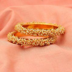 Indian Ethnic White Beads Gold Tone Bollywood Bangles Bracelet Sizes 2-4/2-6 #DesaiJewellers #Bangle