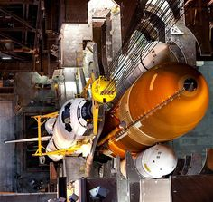 30 March 2011: Space shuttle Endeavour is lowered into place and attached to its external fuel tank and solid rocket boosters, already positioned on the mobile launcher platform in the Vehicle Assembly Building at NASA's Kennedy Space Centre in Cape Canaveral, Florida.