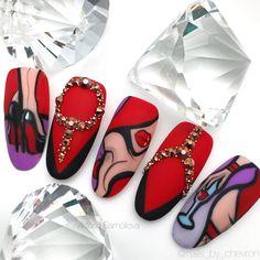 Pop Art Nails, Nail Art Diy, Super Cute Nails, Pretty Nails, Black Nails, Red Nails, Hippie Nails, Nail Art Wheel, Cherry Nails