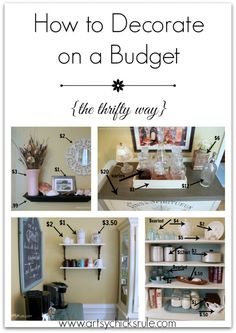 How to Decorate on a Budget. Neat furniture re-dos! I really like the idea of putting the modem, etc. in a cabinet! Love that idea!