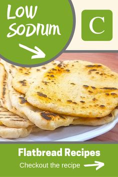 With only of sodium per flatbread, this salt free flatbread recipe is delicious and perfect fo Low Sodium Diet Plan, Low Sodium Bread, Low Sodium Meals, Low Sodium Pizza, Salt Free Bread Recipe, Low Salt Pancake Recipe, Sodium Free Bread Recipe, Low Sodium Ketchup Recipe, Sodium Free Recipes
