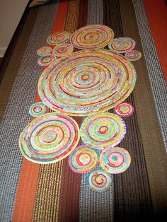 Grael's Crop Circles Table Runner - 10 hours, 125 feet of fabric wrapped clothesline.