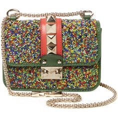 Valentino Garavani Women's Glam Lock Mini Beaded Leather Shoulder Bag... ($1,499) ❤ liked on Polyvore featuring bags, handbags, shoulder bags, green, chain strap purse, chain shoulder bag, green shoulder bag, leather purses and green purse