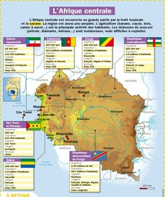 Fiche exposés : L'Afrique centrale Ap French, Core French, Learn French, Teaching French, High School French, Geography Map, French Classroom, Teacher Supplies, Socialism