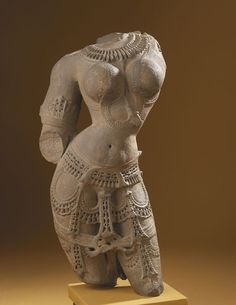 "Surasundari India, 900-1000 AD The Royal Ontario Museum ""The carved stone sculpture shows a torso of a beautiful celestial maiden, or surasundari, who is an entertainer to the gods. Such sculptures adorn many medieval Indian temples both inside and out."