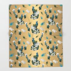 Running Gold and Peacock Feather  Pattern Throw Blanket by justkidding #ThrowBlanket #graphicdesign #gold #feathers #peacocks #flowers