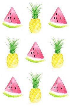 """Pineapple & watermelon background Más cool pineapple wallpaper pineapple wallpaper on…""""Pastel Pineapple"""" design by Emanuela Carratoni…Who doesnt love a bright bold yellow pineapple?"""