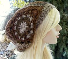 Boho Hat, Womens Hats, Slouchy Beanie, Earth Tone Clothes, Fall Fashion, Granny Square Hat, Hand Crocheted Items, Boho Gifts, Earthy