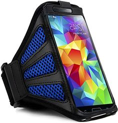 """myLife Dolphin Blue + Grease Black with Flex Mesh {Rain Resistant Velcro Secure Running Armband} Dual-Fit Jogging Arm Strap Holder for Samsung Galaxy Note 2 """"All Ports Accessible"""" myLife Brand Products http://www.amazon.com/dp/B00TG43TF4/ref=cm_sw_r_pi_dp_g40avb1HH0WZX"""