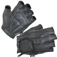 Leather Deerskin Fingerless Motorcycle Gloves