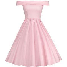 Pink XL Vintage Off Shoulder A Line Dress ($18) ❤ liked on Polyvore featuring dresses, a line silhouette dress, a line dress, pink day dress, off-shoulder dresses and pink off the shoulder dress