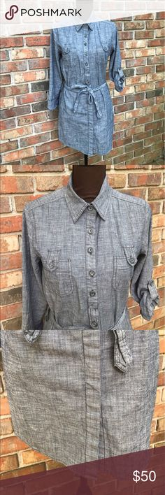 🆕Fei Dark Chambray Tunic Dress Lightly Used | Excellent Condition | Dark Chambray Color | Long Sleeve | Sleeves can be Rolled Up | Collar | Button Down | 10 Buttons Down Front | 1 Pocket on Each Side on Front | Matching Removable Belt | Length: 22ins | Bust: 38ins | Sleeve Length: 20ins | 97% Cotton | 3% Spandex |🚫 Trades | More 📸 Upon Request | Ask Any Questions Needed To Help With Decision 🙋🏽| Bundles & Offers Are Welcomed ❤️| Anthropologie Dresses Long Sleeve