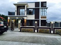 Modern 2 storey house designs philippines 2 storey house design and. Modern Small House Design, Small House Interior Design, Minimalist House Design, Cool House Designs, Modern Minimalist, Style At Home, Plan Duplex, Modern Houses Pictures, White Exterior Houses