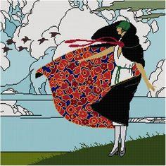point de croix femme manteau dans le vent  - cross stitch lady and coat in the wind