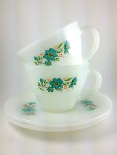 Vintage Fire King Cup and Saucer Bonnie Blue Flowers Shabby Chic Cottage Chic. $12.95, via Etsy.