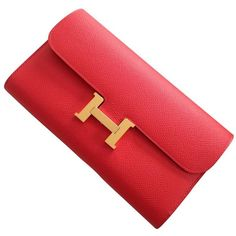Constance clutch bag in leather HERMÈS (37.065 BRL) ❤ liked on Polyvore featuring bags, handbags, clutches, red leather purse, hermès, real leather purses, hermes handbags and hermes clutches