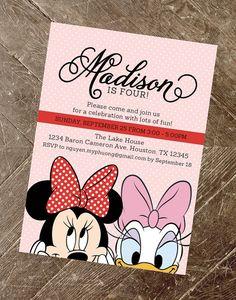 minnie mouse and daisy duck birthday invitation daisy