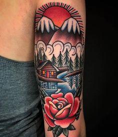 Arm tattoo // 30+ Beautifully Colourful Traditional Tattoos