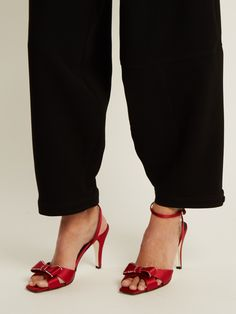 Click here to buy Loewe Bow-embellished satin sandals at MATCHESFASHION.COM