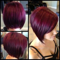I'm gonna hafta do the deep red-burgandy hair color with my next femshep in Pretty Hairstyles, Bob Hairstyles, Bob Haircuts, Hairstyle Ideas, Hair Ideas, Popular Hairstyles, Short Burgundy Hair, Burgundy Bob, Burgundy Color