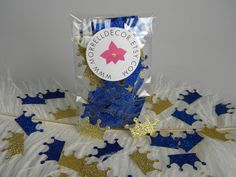 Gold & Royal Blue Glitter Crown Confetti / by MorrellDecor on Etsy