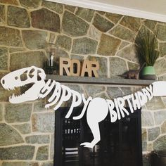 If you are having a dinosaur party then this happy birthday banner is the perfect center piece! Hand drawn and cut on heavyweight poster board