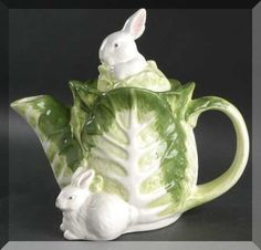 Tea Pot / Bunnies in the cabbage patch.