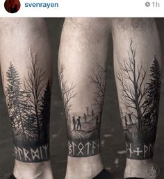 Awesome work by Sven Rayen, Belgium - Heidnisches Tattoo, Rabe Tattoo, Tree Sleeve Tattoo, Forarm Tattoos, Norse Tattoo, Celtic Tattoos, Tattoo Sleeve Designs, Leg Tattoos, Arm Band Tattoo