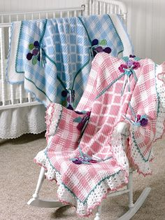 Crochet - Afghan & Throw Patterns - Special Stitch & Ripple Patterns - His & Her Gingham Afghans
