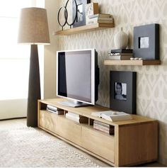 5 Fabulous Clever Hacks: Floating Shelves Apartment Half Baths floating shelves with drawers cabinets.Floating Shelves With Drawers Bedside Tables floating shelf brackets master bath.Floating Shelf For Tv Tv Consoles. Living Room Tv, Apartment Living, Home And Living, Apartment Therapy, Tv Stand Ideas For Living Room, Living Room Decor Around Tv, Small Living, Bedroom Apartment, Living Area