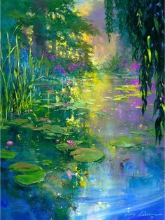 James Coleman - Giverny - Search Gallery One for ART limited edition prints, giclee canvases and original paintings by internationally-known artists Watercolor Landscape, Abstract Landscape, Landscape Paintings, Watercolor Paintings, Pond Painting, Lake Painting, Monet Paintings, Landscape Fabric, Landscape Edging