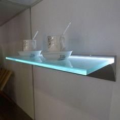 LED Glass Floating Shelf