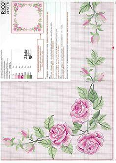 Mini Cross Stitch, Cross Stitch Rose, Cross Stitch Borders, Cross Stitch Flowers, Cross Stitching, Cross Stitch Patterns, Embroidery Thread, Cross Stitch Embroidery, Rico Design