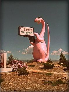 The pink dinosaur sign from Vernal, UT. I say, I would love to travel around North America and take pictures of all these.what do you call them? Roadside Signs, Roadside Attractions, Places To Travel, Places To See, Neon, Old Signs, Vernal Utah, Lake City, Vintage Signs