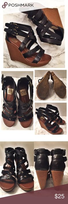 DV by Dolce Vita Talor Strappy Leather Wedges 8.5 DV by Dolce Vita Talor Strappy Wedges • Size // 8.5 // please refer to photos for rough measurements • black leather straps with tan/brown natural made wedges and buckle closure DV by Dolce Vita Shoes Wedges