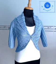Crocheted shawl cir-collar vest with sleeves by BeACrafterxD