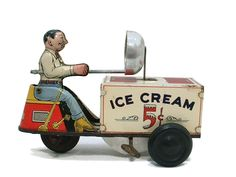 Antique Vintage Courtland Tin Litho Wind Up Toy Ice Cream Scooter in Toys & Hobbies, Vintage & Antique Toys, Wind-up Toys Metal Toys, Tin Toys, Photo Vintage, Vintage Tins, Toy Trucks, Childhood Toys, Classic Toys, Antique Toys, Toy Boxes