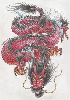 Japanese dragon tattoo coloured by NocturnalSong23 on DeviantArt