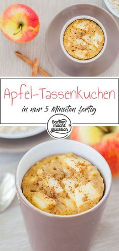 Apfel-Zimt-Tassenkuchen For all fans of the Kombi Apple Cinnamon, this apple cup cake from the microwave is exactly the right thing! I mean, what better way than an apple pie recipe to conjure a lukewarm apple pie in minutes? in a cup Cake Apple Cinnamon Cupcakes Recipe, Apple Pie Recipes, Tart Recipes, Cinnamon Apples, Cupcake Recipes, Apple Cup, Microwave Cake, Cakes Today, No Bake Pies