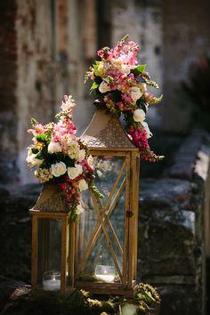 romantic pink flower details for wedding in Antigua, Guatemala with photos by Caroline+Ben Photography | junebugweddings.com