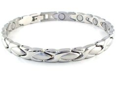 "Magnetic Bracelet Therapy Solid Stainless Steel Links Silver Style #32 6 3/4"" by Magnet Jewelry Store. $29.95. In this size, this bracelet is about 6 3/4 inches and will best fit a wrist that is about 3/8"" - 3/4"" smaller. Can be resized downward if needed at most Jewelry or Watch Repair Shops.. Choose bracelet size based on your actual wrist size in inches against the skin without adding extra. To get wrist size, measure with a soft tape measure or a string & ruler...."