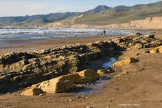 """A reef exposed at low tide at Jalama Beach, CA. Click through for information, directions and photos of this lovely California beach. A """"hidden treasure""""."""